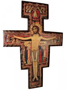 """Copertina di 'Croce in legno """"San Damiano"""" - dimensioni 100x70 cm'"""
