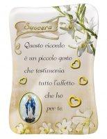 Calamita Suocera con immagine resinata della Madonna Miracolosa - 8 x 5,5 cm
