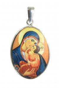 Copertina di 'Medaglia Madonna della Tenerezza  ovale in argento 925 e porcellana - 3 cm'