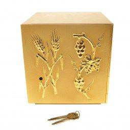 """Copertina di 'Tabernacolo in legno con porta dorata """"spighe e grappoli d'uva"""" - altezza 21,5 cm'"""