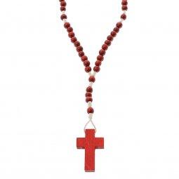 Copertina di 'Rosario in legno rosso - grani tondi 5 mm'