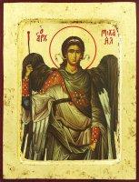 """Icona """"San Michele"""" su legno scavato cm 25x20"""