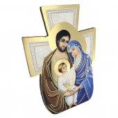 """Immagine di 'Croce sagomata con lamina oro """"Sacra Famiglia"""" - altezza 14 cm'"""