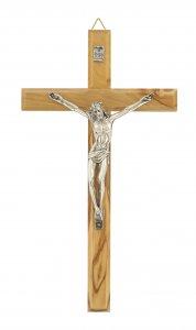 Copertina di 'Crocifisso da parete in legno ulivo con Cristo in metallo ossidato - 20 cm'