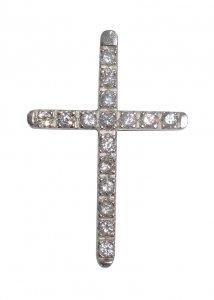 Copertina di 'Croce in argento 925 con strass bianchi - 3,3 cm'