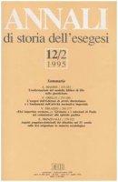 Annali di storia dell'esegesi. Atti del XII seminario di ricerca su Studi sulla letteratura esegetica cristiana e giudaica antica (Sacrofano, 19-21 ottobre 1994)