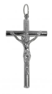 Copertina di 'Croce tondino con Cristo riportato in metallo nichelato - 3,5 cm'