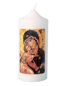 """Copertina di 'Candela bianca """"Madonna della Tenerezza"""" - altezza 13 cm'"""