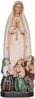 """Statua in legno dipinta """"Nostra Signora di Fatima con pastorelli"""" - altezza 23 cm"""