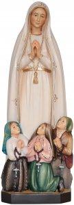 """Copertina di 'Statua in legno dipinta """"Nostra Signora di Fatima con pastorelli"""" - altezza 23 cm'"""