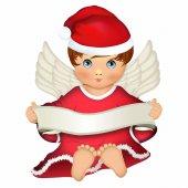 Angelo custode vestito da Babbo Natale - dimensioni 14x11 cm
