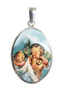 Copertina di 'Medaglia Angelo Custode ovale in porcellana con profilo in argento - 3 cm'