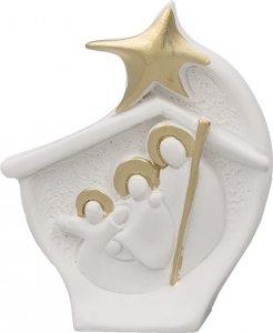 Copertina di 'Presepe da poggio in resina bianca con dettagli dorati - dimensioni 9x7 cm'