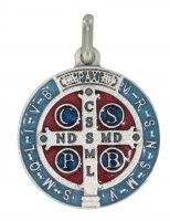 Medaglia San Benedetto tonda in metallo argentato con smalto - 2 cm