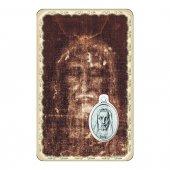 """Card """"Sacra Sindone"""" con preghiera e medaglia - (10 pezzi)"""
