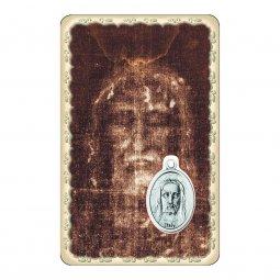 """Copertina di 'Card """"Sacra Sindone"""" con preghiera e medaglia - (10 pezzi)'"""