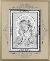 Icona Madonna col Bambino in argento 925 e legno - 17 x 14 cm