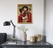 """Immagine di 'Quadro """"Sacra Famiglia"""" con lamina oro e cornice dorata - dimensioni 44x34 cm'"""
