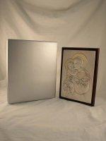 """Immagine di 'Quadro in legno con placca d'argento """"Sant'Antonio"""" - dimensioni 28x20 cm'"""