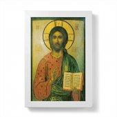 """Quadretto """"Cristo Pantocratore"""" con lamina oro e cornice minimal - dimensioni 15x10 cm"""