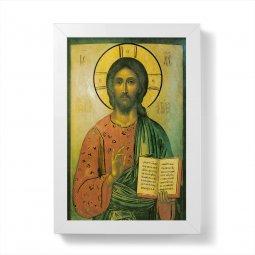 """Copertina di 'Quadretto """"Cristo Pantocratore"""" con lamina oro e cornice minimal - dimensioni 15x10 cm'"""
