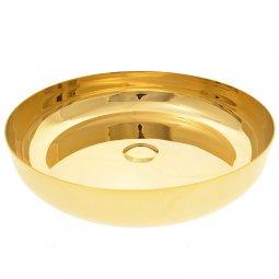 Copertina di 'Pisside in ottone dorato con base - diametro 23 cm'