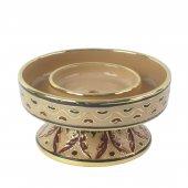 Portacero in ceramica cm 15 x 8 - Modello Deruta marrone oro graffito