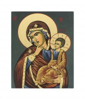 Icona Madonna con Bambino dipinta a mano su legno cm 13x16