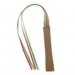 Copertina di 'Segnalibro in cuoio 4 nistole in doppio raso - dimensioni 14x2 cm, colore marrone'