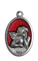 Medaglia angelo ovale in metallo smaltato rosso di mis. 2,5 x 1,5 cm.