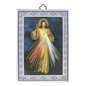 """Icona con cornice azzurra """"Gesù Misericordioso"""" - 14 x 10 cm"""