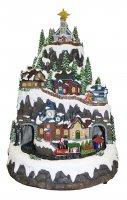 Villaggio natalizio su montagna innevata con treno in movimento, luci, musica (32,5 x 50 x 31 cm)