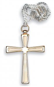 Copertina di 'Croce in metallo dorato con smalto bianco e cordoncino bianco - 7 cm'
