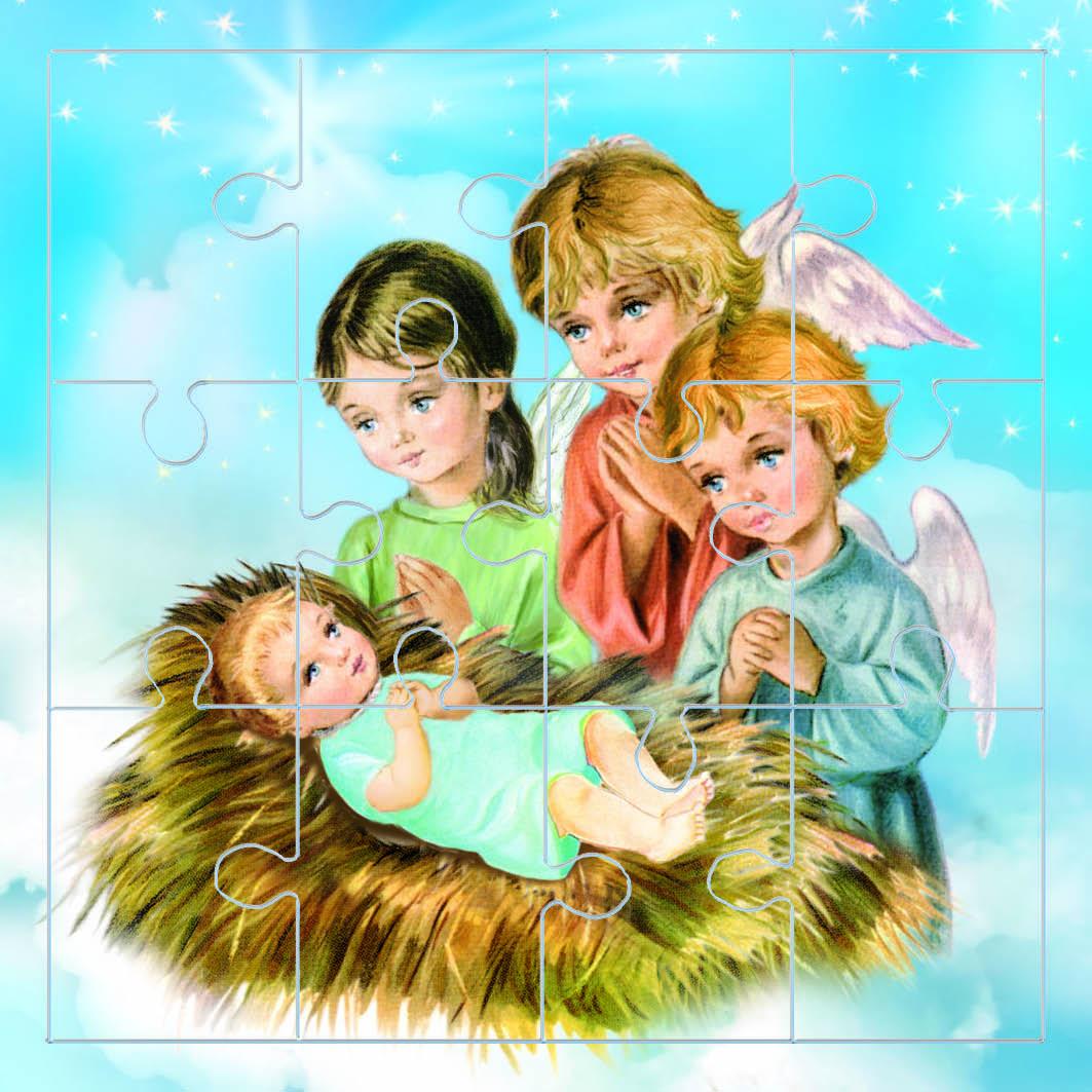 Mini puzzle gesù bambino e gli angeli in cartone