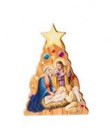Albero di Natale con Sacra Famiglia in legno d'ulivo - altezza 5,5 cm
