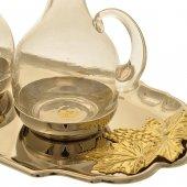 Immagine di 'Servizio ampolline su piatto argentato con decorazioni dorate a forma di grappoli d'uva - capienza 120 cc'