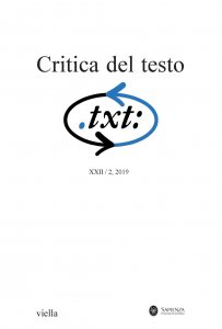 Copertina di 'Critica del testo (2019) Vol. 22/2'