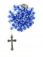 Rosario con grani in cristallo sfaccettato da Ø 6 mm e legatura in metallo - colore blu
