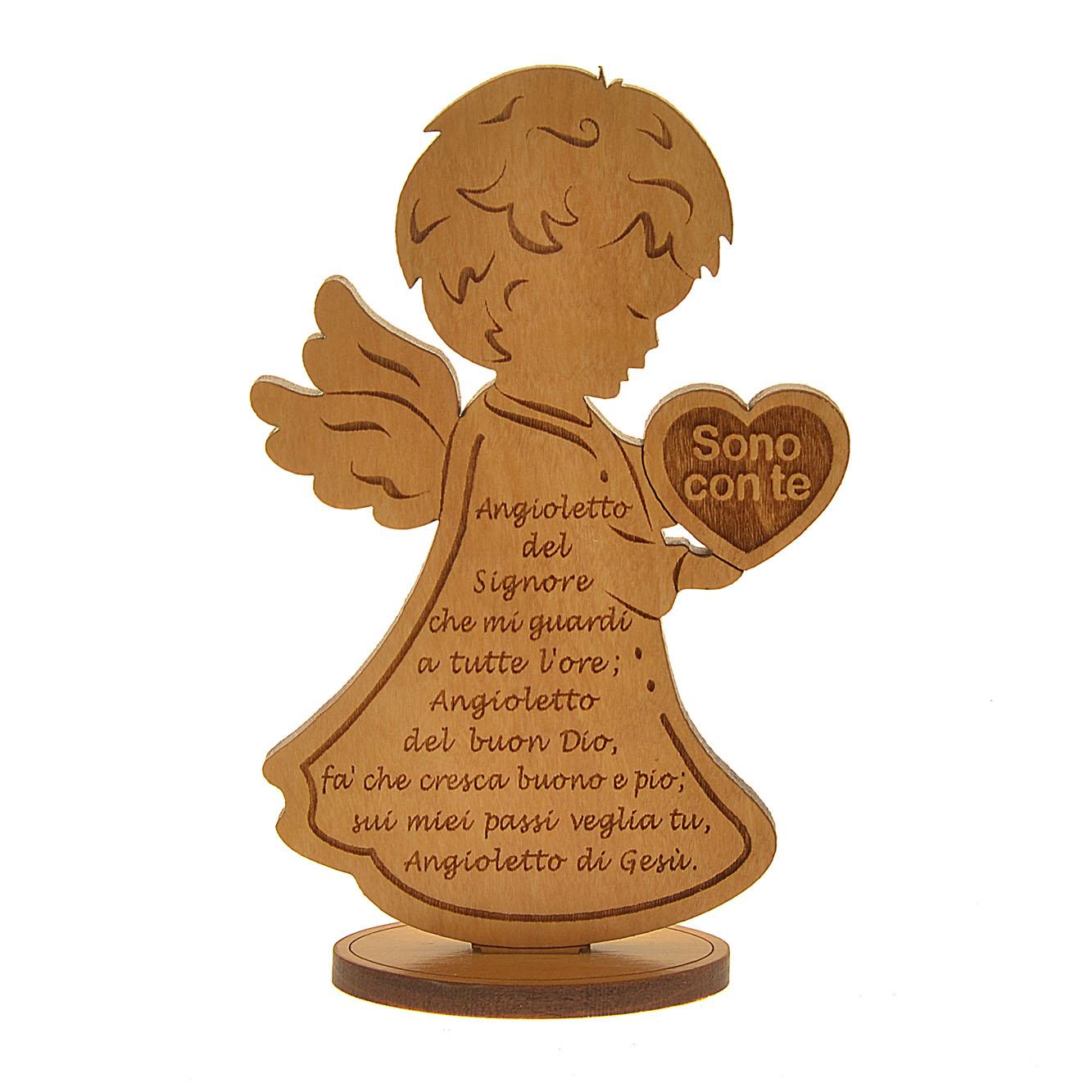 Angelo in legno con cuore 39 sono con te 39 in legno d 39 ulivo - Stampabile la preghiera del signore ...