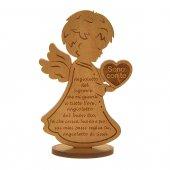 """Angelo in legno con cuore """"Sono con te"""" - dimensioni 11x7 cm"""