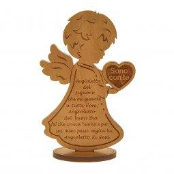 """Copertina di 'Angelo in legno con cuore """"Sono con te"""" - dimensioni 11x7 cm'"""