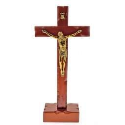 Copertina di 'Crocifisso in legno con corpo in metallo dorato - dimensioni 22,5x11 cm'