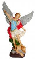 Statua da esterno San Michele Arcangelo in materiale infrangibile dipinta a mano cm 20