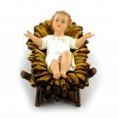 Gesù Bambino con culla decorato a mano - cm 14