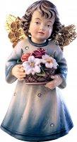 Statuina dell'angioletto con fiori, linea da 10 cm, in legno dipinto a mano, collezione Angeli Sissi - Demetz Deur