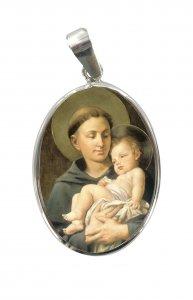 Copertina di 'Medaglia San Antonio  porcellana con profilo in argento 925'