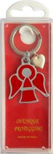 Copertina di 'Portachiavi angelo smaltato rosso con scatola - 4 cm'