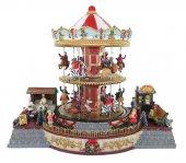 Villaggio natalizio con giostra su due piani, movimento, luci, musica (38 x 33 x 28 cm)