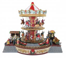 Copertina di 'Villaggio natalizio con giostra su due piani, movimento, luci, musica (38 x 33 x 28 cm)'