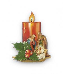 Copertina di 'Calamita a forma di candela con Natività e agrifoglio - dimensioni 7x4,5 cm'